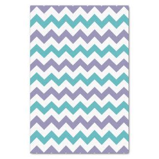 青い紫色及び白いシェブロンパターンチィッシュペーパー 薄葉紙