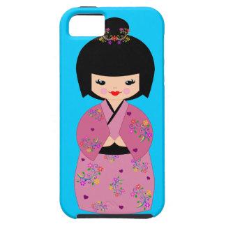 青い細胞の箱の花の着物のKokeshiの人形 iPhone SE/5/5s ケース