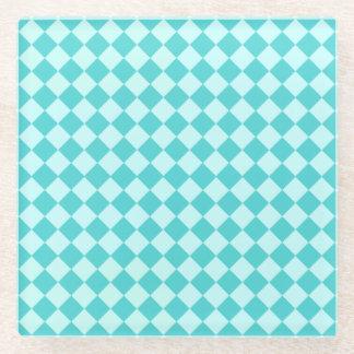 青い組合せのダイヤモンドパターン ガラスコースター