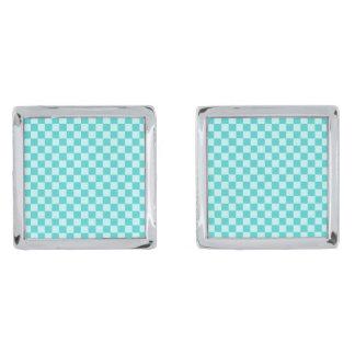 青い組合せの古典のチェッカーボード シルバー カフスボタン