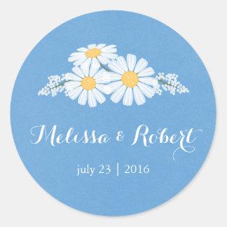 青い結婚式のエレガントな花の白いデイジー ラウンドシール
