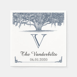 青い結婚式のナプキンのコケむしたオークの木 スタンダードカクテルナプキン