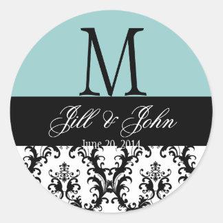 青い結婚式のモノグラムの保存の日付のダマスク織のシール ラウンドシール