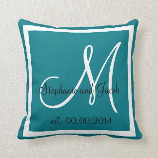 青い結婚式の記念品の枕 クッション
