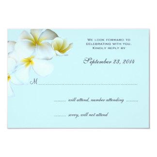 青い結婚式招待状の応答カードのプルメリア カード