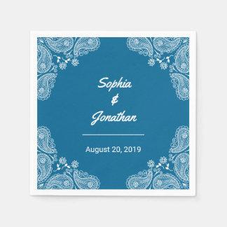 青い結婚式Iの手描きのペイズリーの結婚式のナプキン スタンダードカクテルナプキン