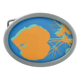 青い絵画の抽象美術のオレンジ葉 卵形バックル
