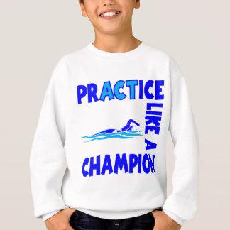 青い練習の水泳 スウェットシャツ