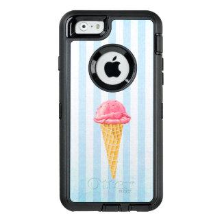 青い縞が付いているいちごのアイスクリームの円錐形 オッターボックスディフェンダーiPhoneケース