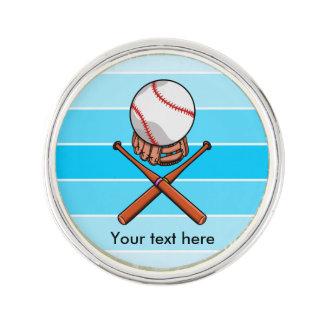 青い縞が付いているソフトボールおよび十字のこうもり ラペルピン