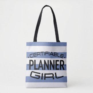 青い縞が付いている保証できるプランナーの女の子のトート トートバッグ