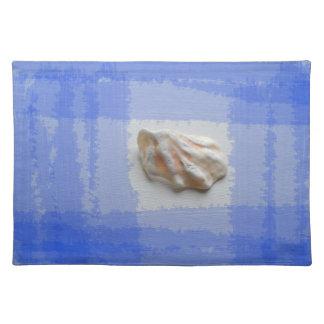 青い縞が付いている猫の足の貝 ランチョンマット