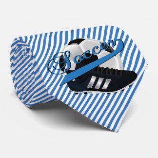 青い縞のサッカーの選手 オリジナルタイ
