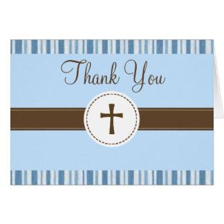青い縞のサンキューカードに洗礼を施すこと カード