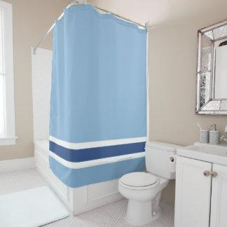 青い縞のシャワー・カーテン シャワーカーテン