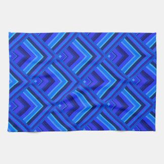 青い縞のスケールパターン キッチンタオル