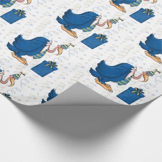 青い縞のタイのおもしろいな誕生日の古い男性のBuzzard ラッピングペーパー