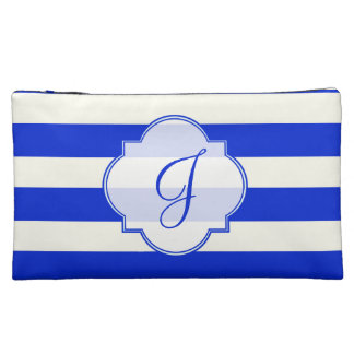 青い縞のファッション コスメティックバッグ
