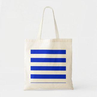 青い縞のファッション トートバッグ
