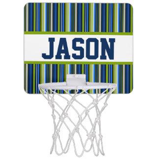 青い縞の名前入りなミニバスケットボールのゴール ミニバスケットボールネット