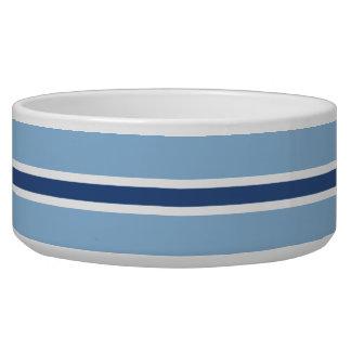 青い縞の大きいペットボウル