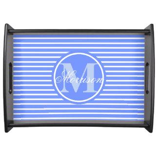青い縞の威信のモノグラム トレー