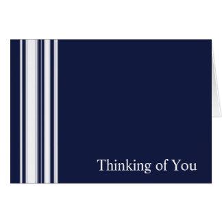 青い縞の悔やみや弔慰カード カード