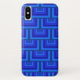 青い縞の正方形のスケールパターン iPhone X ケース