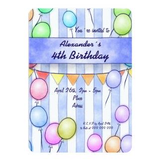 青い縞の誕生日の気球 カード