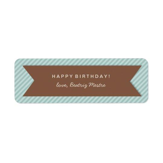 青い縞の誕生日プレゼントのラベルのラベル 返信用宛名ラベル