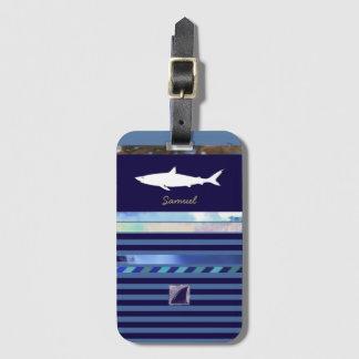 青い縞の鮫 ラゲッジタグ