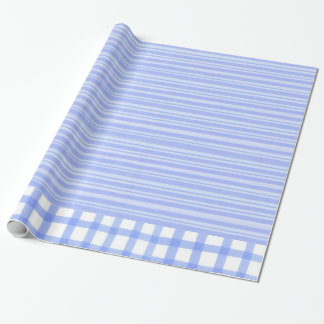 """青い縞-光沢のある包装紙、30"""" x6 ラッピングペーパー"""