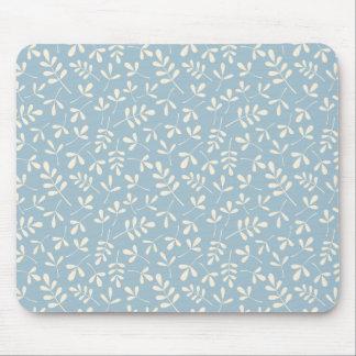 青い繰り返しパターンの分類された葉のクリーム マウスパッド