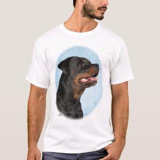 青い背景が付いているロットワイラーの頭部 Tシャツ