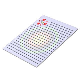 青い背景のカラフルな円パターン ノートパッド