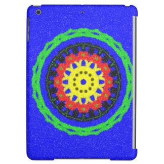 青い背景のカラフルな円パターン iPad AIRケース