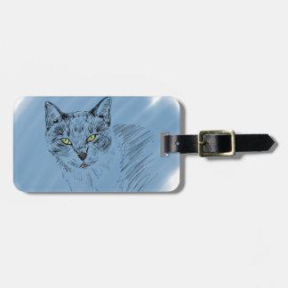 青い背景のクールな猫の走り書き ラゲッジタグ
