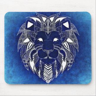 青い背景のマウスパッドを持つユニセックスで白いライオン マウスパッド