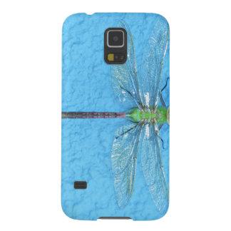 青い背景のマクロ緑のトンボ GALAXY S5 ケース