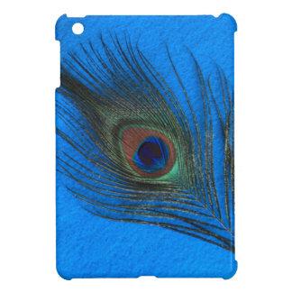 青い背景の孔雀の羽のiPad Miniケース iPad Mini Case