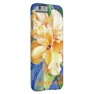 青い背景の巨大で黄色いGardeniaあなたの名前 Barely There iPhone 6 ケース