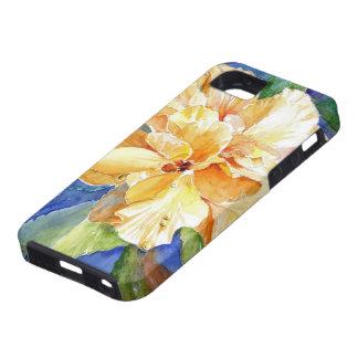 青い背景の巨大で黄色いGardenia iPhone SE/5/5s ケース
