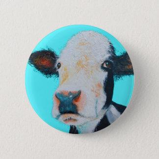 青い背景の牛絵画 缶バッジ
