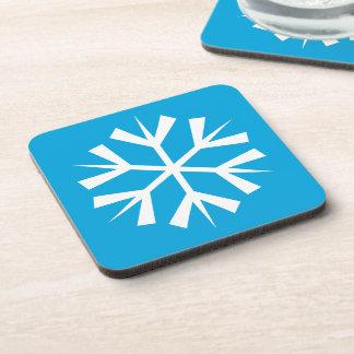 青い背景の白い雪片の記号 コースター
