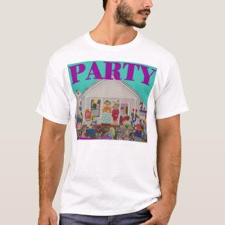 青い背景の紫色の手紙が付いているパーティーのワイシャツ Tシャツ