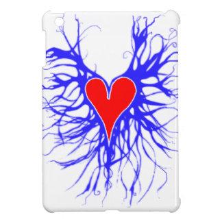 青い背景の赤いハート iPad MINIケース