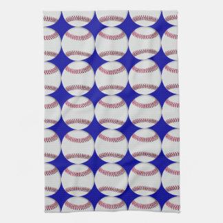 青い背景の野球パターン キッチンタオル
