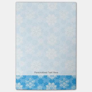 青い背景の雪片 ポストイット