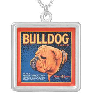 青い背景のBull犬 シルバープレートネックレス