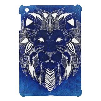 青い背景のiPad Miniケースを持つ白いライオン iPad Miniケース